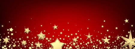 Red holiday banner with golden stars. Christmas decoration. Vector illustration.  Illustration