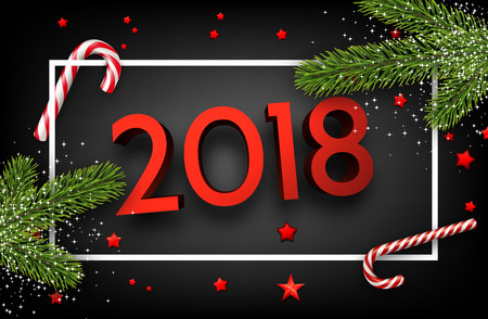 Grey shiny 2018 new year background with fir branches, stars and candy. Vector illustration.    Illustration