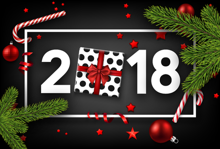 Grey 2018 new year background with gift and fir branches. Vector top view illustration. Illustration
