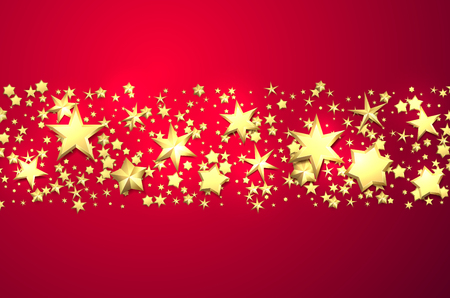 Pink holiday background with golden stars. Christmas decoration. Vector illustration.