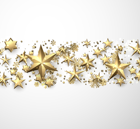 Winter holiday background with golden stars and snowflakes. Christmas decoration. Vector illustration.