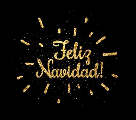 Golden shiny Merry Christmas print on black background, Spanish. Vector illustration.