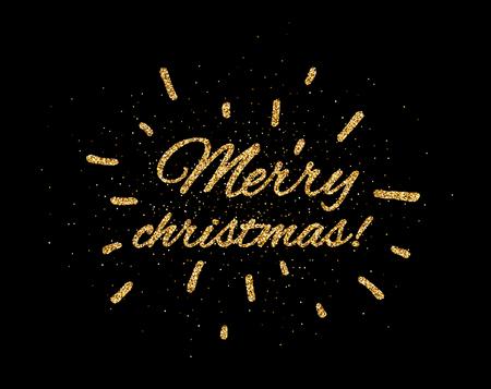 Golden shiny Merry Christmas print on black background. Vector illustration.