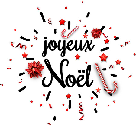 White Merry Christmas print with red bow, candy and serpentine, French. Vector paper illustration.