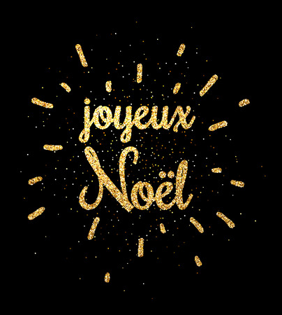 Golden shiny Merry Christmas print on black background, French. Vector illustration.