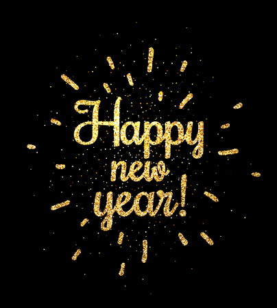 Golden shiny Happy new year print on black background. Vector illustration.
