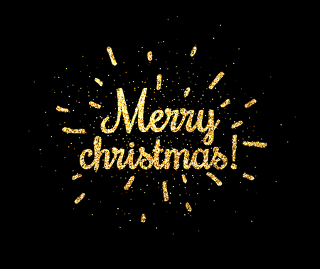 Golden shiny Merry Christmas print on black background. Vector illustration.  Illustration