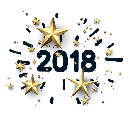 2018 new year card with golden stars on white background. Vector paper illustration.