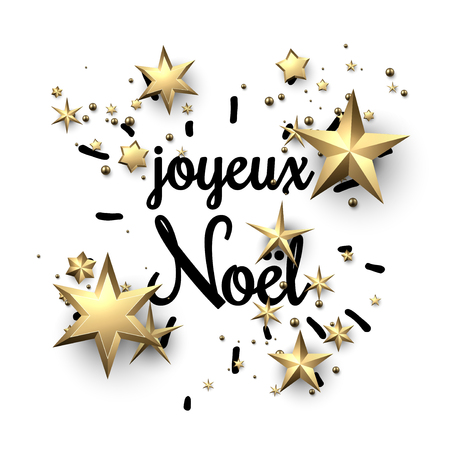 Merry Christmas background with golden stars, French. Vector paper illustration.