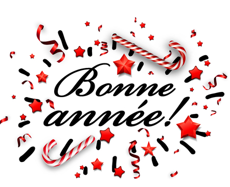 White Happy New Year card with candy, red stars and serpentine, French. Vector paper  illustration.