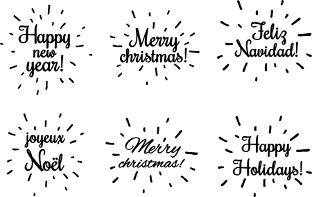 Black Christmas and New year lettering on white, French, Spanish. Vector paper illustration.  Illustration