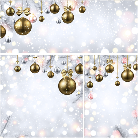 Shiny New Year backgrounds set with fir branches and golden Christmas balls.