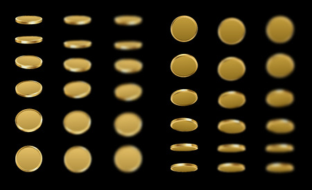 Golden coins spin isolated on black illustration.