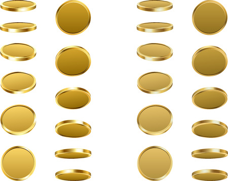 Golden coins spin isolated on white illustration.