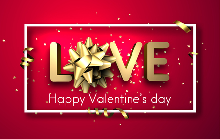 Pink love valentine's card with gold bow, confetti and serpentine. Vector 3d illustration.