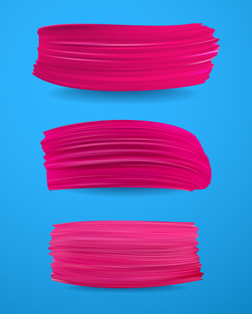 Blue background with pink paint brush strokes. Vector illustration.