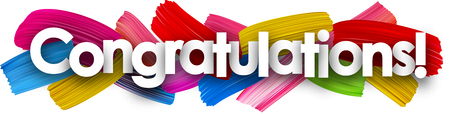 Congratulations banner with colorful watercolor brush strokes. Vector paper illustration. Illustration