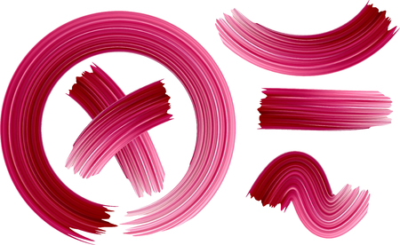 Pink hand-drawn painted brush strokes on white background. Vector paper illustration.