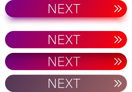 Red and purple spectrum next web buttons with arrow isolated on white background. Vector illustration.