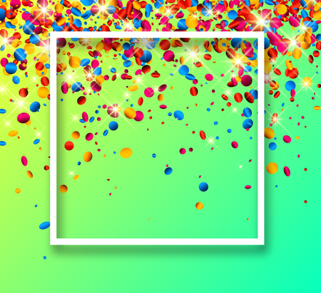 Green festive background with white frame and glossy colorful oval confetti. Vector illustration.
