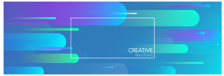 Blue creative solutions banner with frame and abstract geometric pattern. Vector illustration. Vecteurs