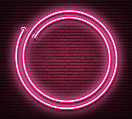 Pink round neon luminous signboard on realistic bricklaying wall. Textured background. Vector illustration.
