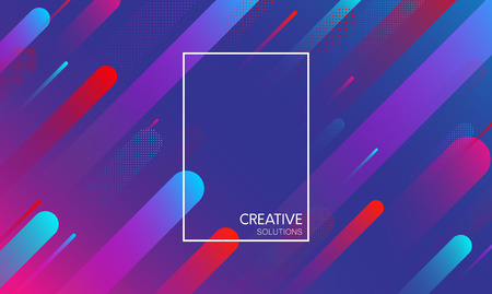 Blue creative solutions background with frame and abstract geometric pattern. Vector illustration.