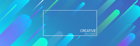 Blue creative solutions banner with frame and abstract geometric pattern. Vector illustration.