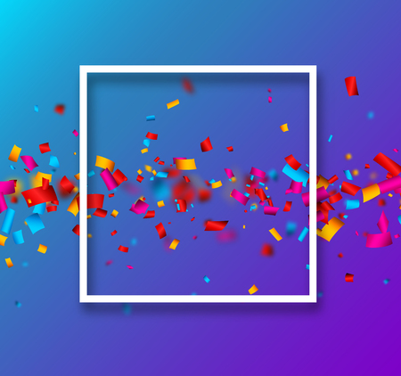 Blue festive background with white frame and colorful paper confetti. Vector illustration.