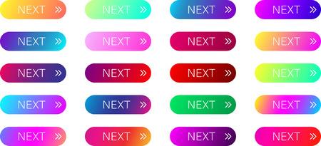 Botones de web siguiente espectro colorido con flecha aislado sobre fondo blanco. Ilustración vectorial