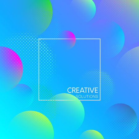 Blue creative solutions background with frame and abstract bubbles pattern. Vector illustration. Illustration