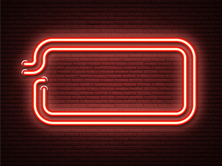 Red neon luminous signboard on realistic bricklaying wall. Textured background. Vector illustration. Illustration
