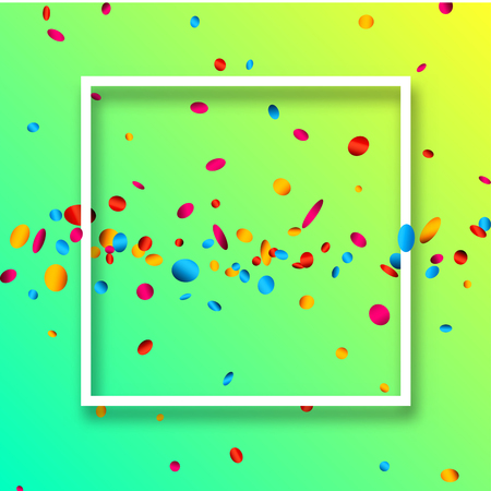 Green festive background with white frame and colorful oval confetti. Vector illustration.