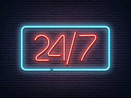 Blue and red neon luminous 24/7 signboard on grey realistic bricklaying wall. Textured background. Vector illustration.