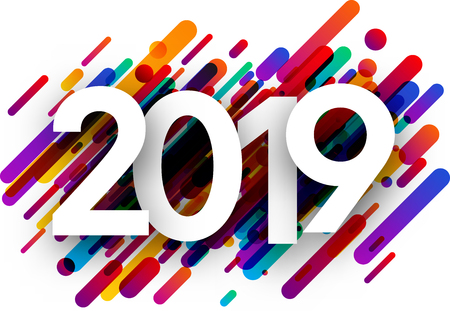2019 new year sign with colorful paint strokes on white background. Vector paper illustration.
