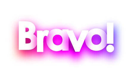 Rosa Spektrum Bravo Zeichen auf weißem Hintergrund. Vektorpapierillustration.
