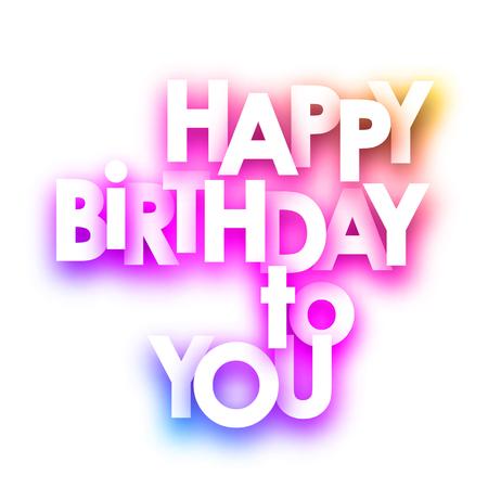 Rosa Alles Gute zum Geburtstag an Sie Spektrumkarte auf weißem Hintergrund. Vektorpapierillustration. Vektorgrafik