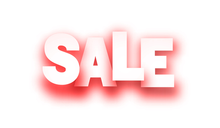 Red sale paper sign on white background. Vector illustration.