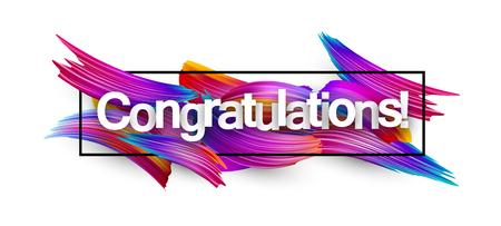 Banner di congratulazioni con pennellate di spettro su sfondo bianco. Design a pennello sfumato colorato. Illustrazione di carta vettoriale.