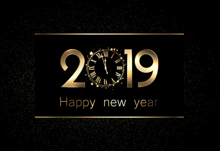 Black 2019 happy new year background with golden shiny clock. Vector illustration.