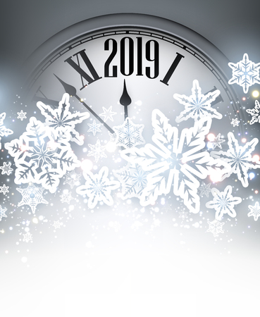 Grey shiny 2019 New Year background with silver clock and snowflakes. Beautiful Christmas greeting card. Vector illustration.
