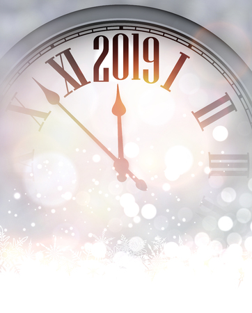 Grey shiny blurred 2019 New Year background with silver clock and snow. Beautiful Christmas greeting card. Vector illustration.