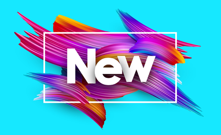 New poster with spectrum brush strokes on blue background. Colorful gradient brush design. Vector paper illustration.