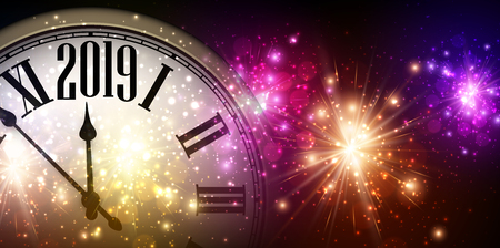 Shiny 2019 New Year background with clock and colorful fireworks. Vector illustration.