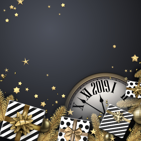 Grey 2019 New Year background with gift boxes, fir branches and clock. Christmas greeting card or poster template. Vector top view illustration. Illusztráció