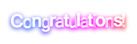 Pink spectrum congratulations sign on white background. Vector paper illustration. 版權商用圖片 - 111279753