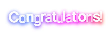 Signo de felicitaciones de espectro rosa sobre fondo blanco. Ilustración de papel de vector. Ilustración de vector