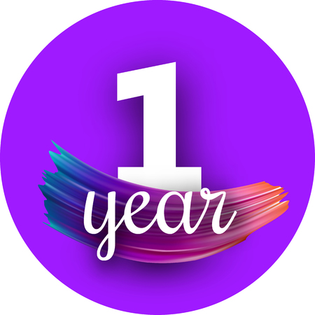 Round purple one year greeting card with spectrum brush stroke. Colorful gradient brush design. Vector paper illustration. Illustration
