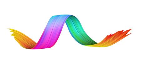 Spektrum Aquarell, Acryl oder Gouache gewellter Pinselstrich auf weißem Papierhintergrund gezeichnet. Bunte Farbverlauf-Pinsel-Design. Abstrakte Vorlage. Vektorgrafiken.