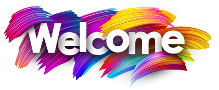Willkommensplakat mit Spektrumbürstenanschlägen auf weißem Hintergrund. Bunte Farbverlauf-Pinsel-Design. Vektorpapierillustration. Vektorgrafik